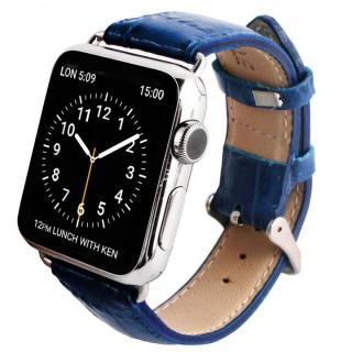 GAZE 42mm Apple Watch用天然牛革バンド コバルトブルークロコ【6月上旬】