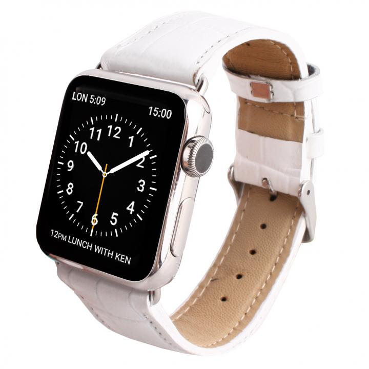 GAZE 38mm Apple Watch用天然牛革バンド ホワイトクロコ_0