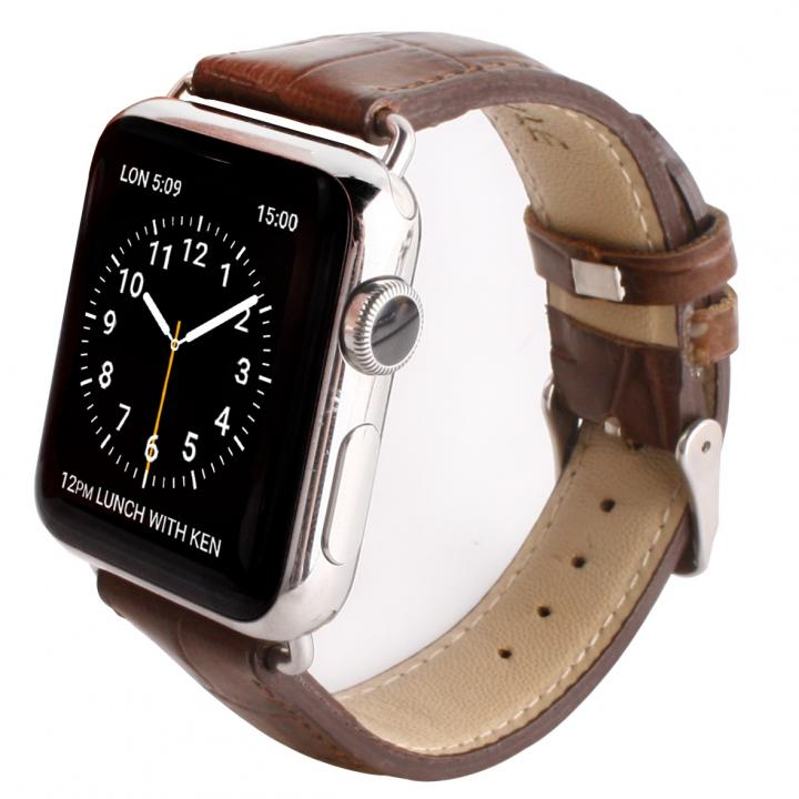 GAZE 38mm Apple Watch用天然牛革バンド ブラウンクロコ_0