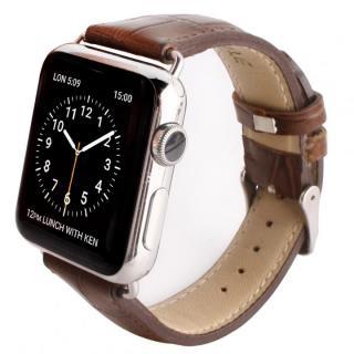 GAZE 38mm Apple Watch用天然牛革バンド ブラウンクロコ