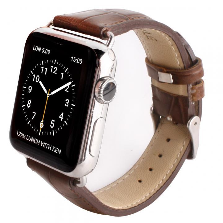 GAZE 42mm Apple Watch用天然牛革バンド ブラウンクロコ_0