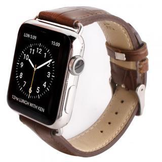 GAZE 42mm Apple Watch用天然牛革バンド ブラウンクロコ