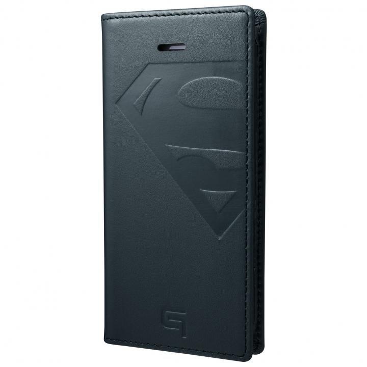 【iPhone SE/5s/5ケース】GRAMAS フルレザー手帳型ケース スーパーマン/ネイビー iPhone SE/5s/5_0