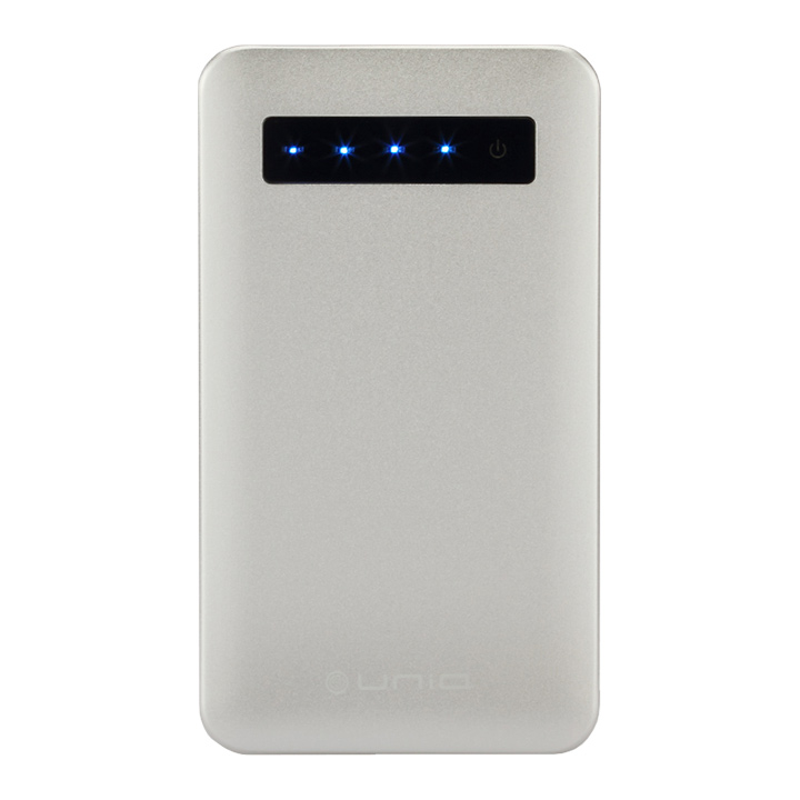 [4000mAh]極薄・超軽量 モバイルバッテリー「POWER CARD」高出力2.1A シルバー