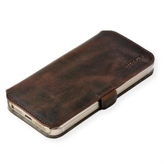 cheero 手帳型トルコ製本牛レザーケース ヴィンテージレザー ダークブラウン iPhone SE/5s/5ケース
