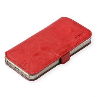 cheero 手帳型トルコ製本牛レザーケース ウォッシュドレザー リッチレッド iPhone SE/5s/5ケース