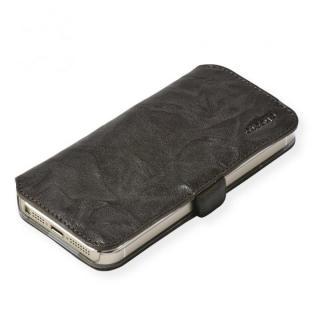 cheero 手帳型トルコ製本牛レザーケース ウォッシュドレザー ダークブラウン iPhone SE/5s/5ケース