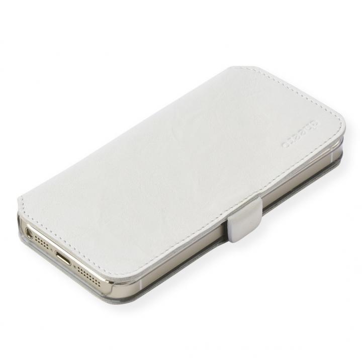 iPhone SE/5s/5 ケース cheero 手帳型トルコ製本牛レザーケース ウォッシュドレザー ホワイト iPhone SE/5s/5ケース_0