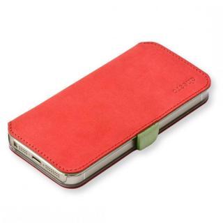 cheero 手帳型トルコ製本牛レザーケース ヌバックレザー レッド/イエローグリーン iPhone SE/5s/5ケース