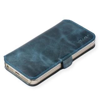 cheero 手帳型トルコ製本牛レザーケース ヴィンテージレザー アイアンブルー iPhone SE/5s/5ケース