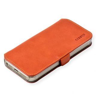 cheero 手帳型トルコ製本牛レザーケース ヴィンテージレザー ブラウン iPhone SE/5s/5ケース