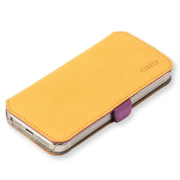 cheero 手帳型トルコ製本牛レザーケース ヌバックレザー オレンジ/パープル iPhone SE/5s/5ケース
