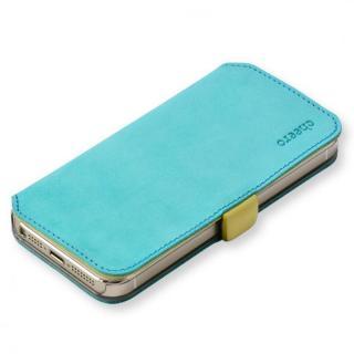cheero 手帳型トルコ製本牛レザーケース ヌバックレザー ブルー/イエロー iPhone SE/5s/5ケース