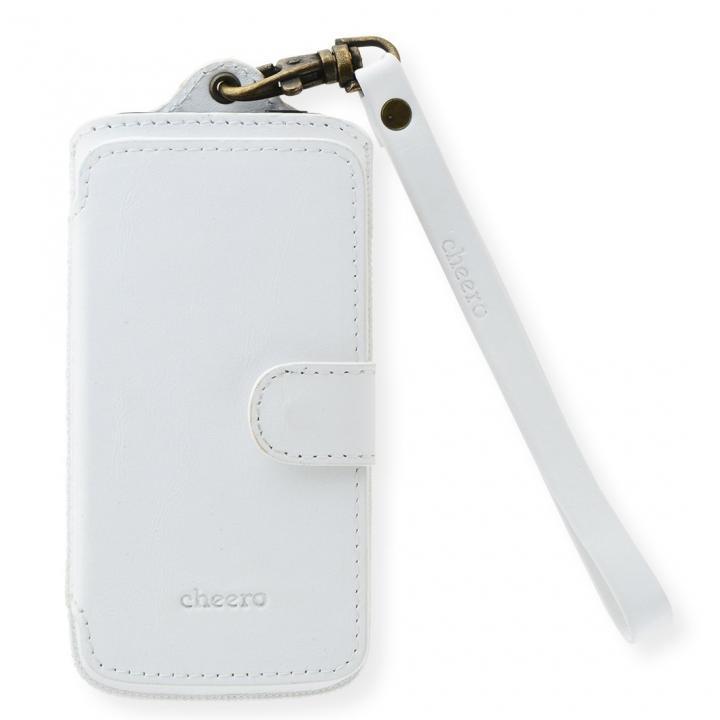 【iPhone SE/5s/5ケース】cheero ポケット型トルコ製本牛レザーケース ナパ/ホワイト iPhone SE/5c/5s/5ケース_0