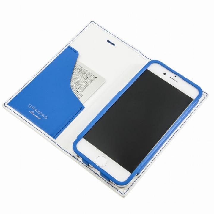 [数量限定モデル]GRAMAS フルレザー手帳型ケース トリコロールカラー ホワイト/ブルー iPhone 6s/6