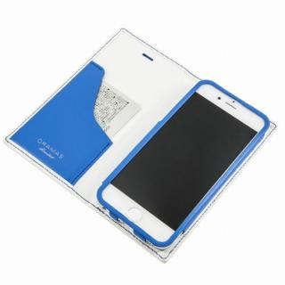 【8月下旬】[数量限定モデル]GRAMAS フルレザー手帳型ケース トリコカラー ホワイト/ブルー iPhone 6