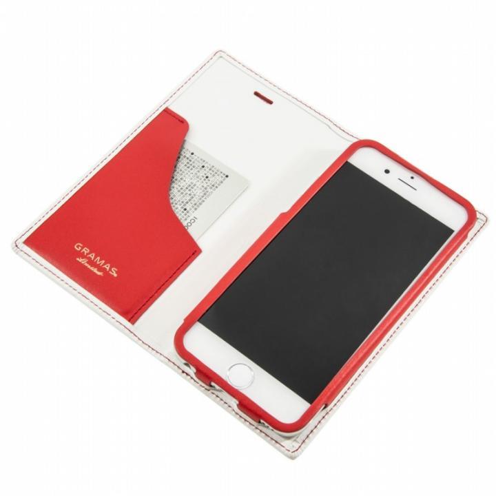 iPhone6s Plus/6 Plus ケース [数量限定モデル]GRAMASフルレザー手帳型ケーストリコロールカラーホワイト/レッド iPhone 6sPlus/6Plus_0