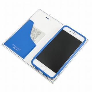 【8月下旬】[数量限定モデル]GRAMAS フルレザー手帳型ケース トリコカラー ホワイト/ブルー iPhone 6 Plus