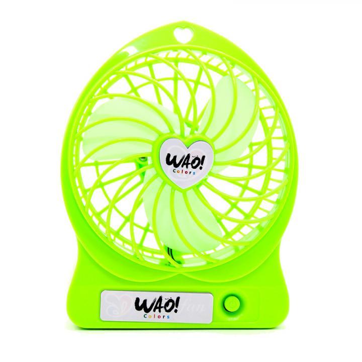 USB充電式扇風機 蛍光グリーン_0