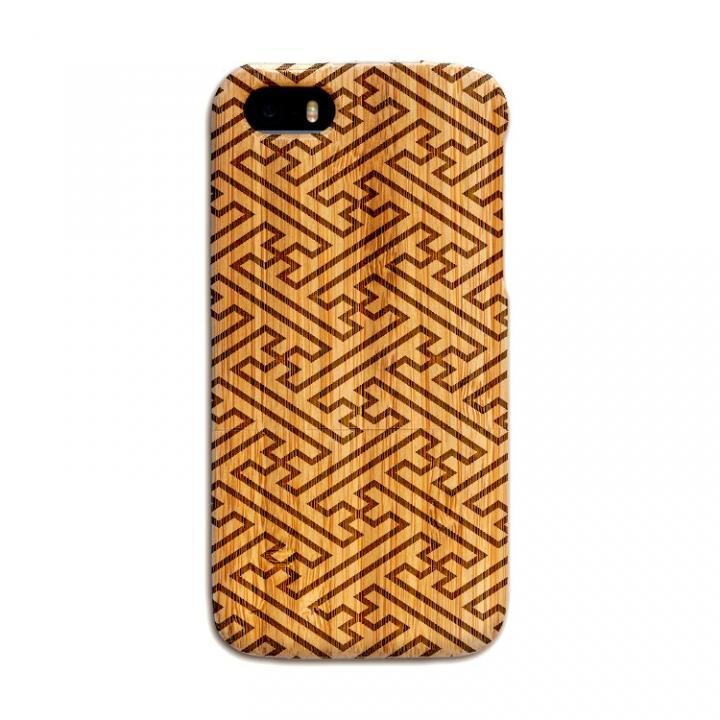 iPhone SE/5s/5 ケース 天然の竹を使った一点モノ kibaco 天然竹ケース 紗綾形 iPhone SE/5s/5ケース_0