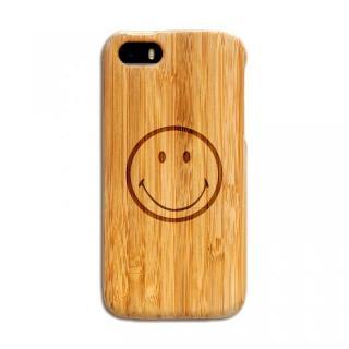 iPhone SE/5s/5 ケース 天然の竹を使った一点モノ kibaco 天然竹ケース スマイリー iPhone SE/5s/5ケース