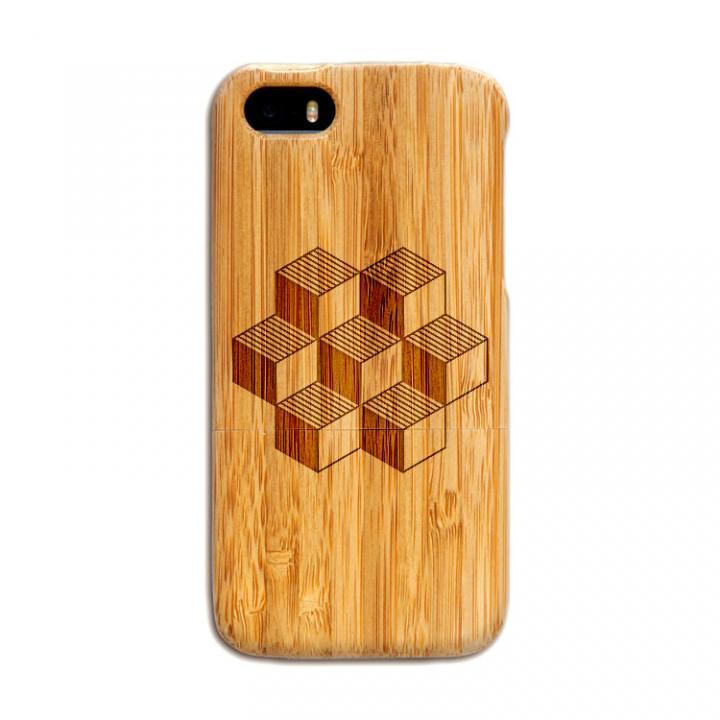 iPhone SE/5s/5 ケース 天然の竹を使った一点モノ kibaco 天然竹ケース キューブ iPhone SE/5s/5ケース_0