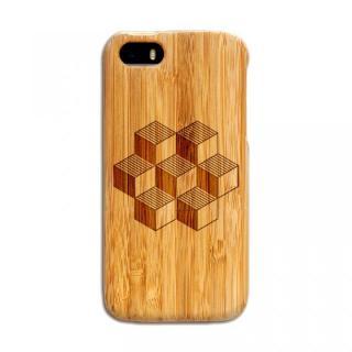 iPhone SE/5s/5 ケース 天然の竹を使った一点モノ kibaco 天然竹ケース キューブ iPhone SE/5s/5ケース