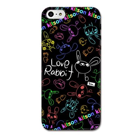 iPhone SE/5s/5 ケース Kitson デザインケース LOVE RABBIT ブラック iPhone SE/5s/5ケース_0