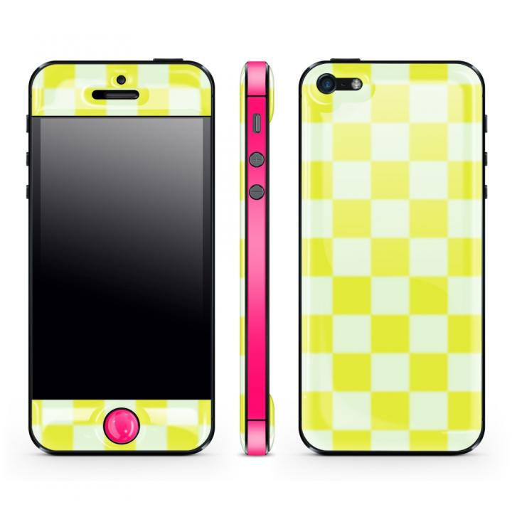 Yellow Check Glow Gel Skin with bumper  iPhone5