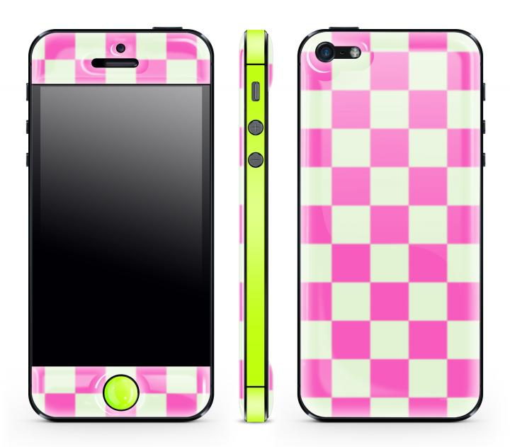 iPhone SE/5s/5 ケース Pink Check Glow Gel Skin with bumper  iPhone 5_0