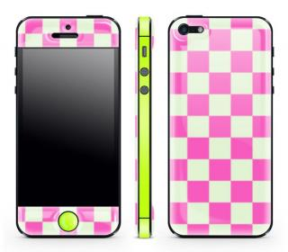 Pink Check Glow Gel Skin with bumper  iPhone 5