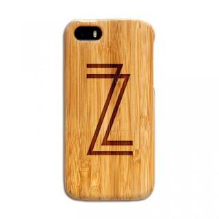 天然の竹を使った一点モノ kibaco 天然竹ケース アルファベットZ iPhone SE/5s/5ケース
