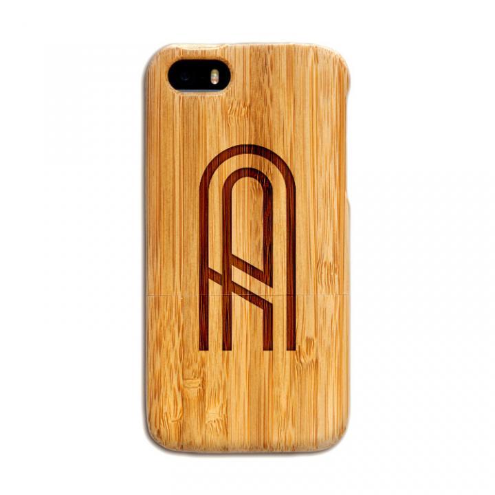 iPhone SE/5s/5 ケース 天然の竹を使った一点モノ kibaco 天然竹ケース アルファベットA iPhone SE/5s/5ケース_0