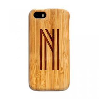 天然の竹を使った一点モノ kibaco 天然竹ケース アルファベットN iPhone SE/5s/5ケース