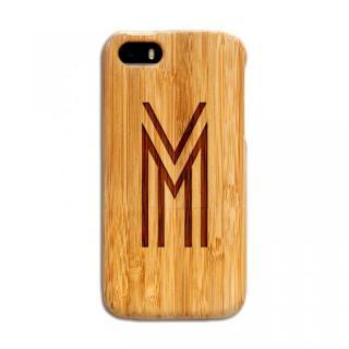 天然の竹を使った一点モノ kibaco 天然竹ケース アルファベットM iPhone SE/5s/5ケース