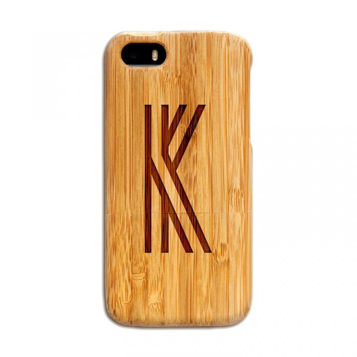 iPhone SE/5s/5 ケース 天然の竹を使った一点モノ kibaco 天然竹ケース アルファベットK iPhone SE/5s/5ケース_0