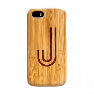 【iPhone SE/5s/5ケース】天然の竹を使った一点モノ kibaco 天然竹ケース アルファベットJ iPhone SE/5s/5ケース