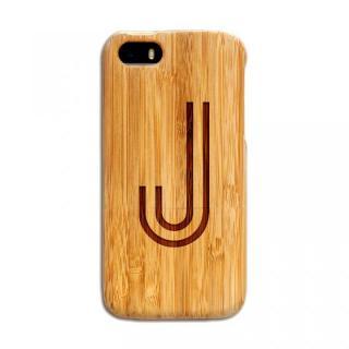 天然の竹を使った一点モノ kibaco 天然竹ケース アルファベットJ iPhone SE/5s/5ケース