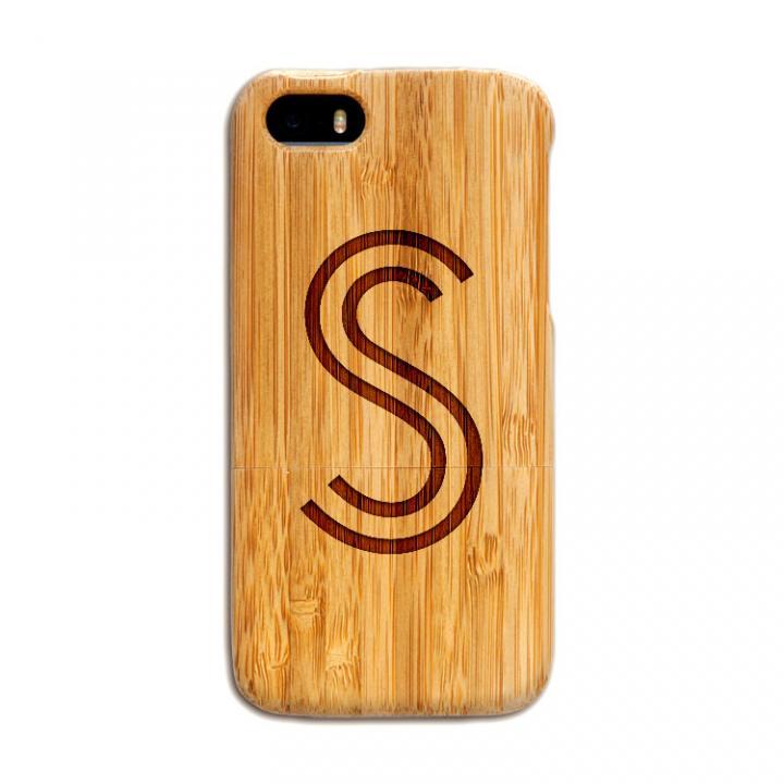 iPhone SE/5s/5 ケース 天然の竹を使った一点モノ kibaco 天然竹ケース アルファベットS iPhone SE/5s/5ケース_0