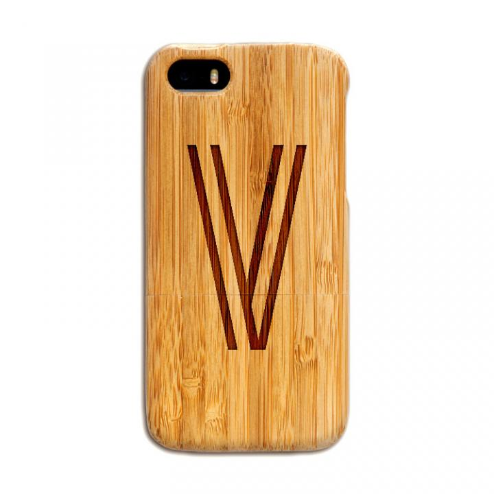 iPhone SE/5s/5 ケース 天然の竹を使った一点モノ kibaco 天然竹ケース アルファベットV iPhone SE/5s/5ケース_0