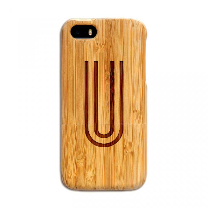 iPhone SE/5s/5 ケース 天然の竹を使った一点モノ kibaco 天然竹ケース アルファベットU iPhone SE/5s/5ケース_0