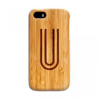 天然の竹を使った一点モノ kibaco 天然竹ケース アルファベットU iPhone SE/5s/5ケース