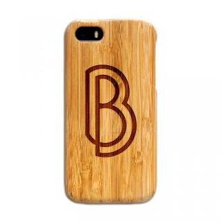 【iPhone SE/5s/5ケース】天然の竹を使った一点モノ kibaco 天然竹ケース アルファベットB iPhone SE/5s/5ケース