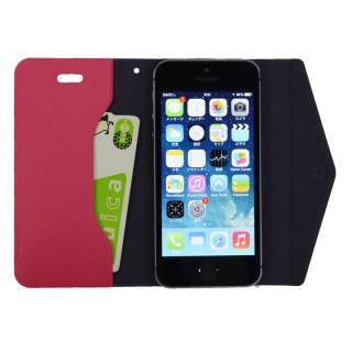 【iPhone SE/その他の/iPodケース】特殊粘着シートで汚れない 手帳型ケース CLUTCH ピンク iPhone SE/5s/5/5cケース