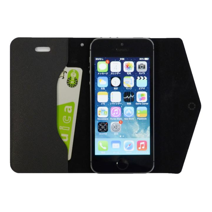 【iPhone SE/5s/5ケース】特殊粘着シートで汚れない 手帳型ケース CLUTCH ブラック iPhone SE/5s/5/5cケース_0