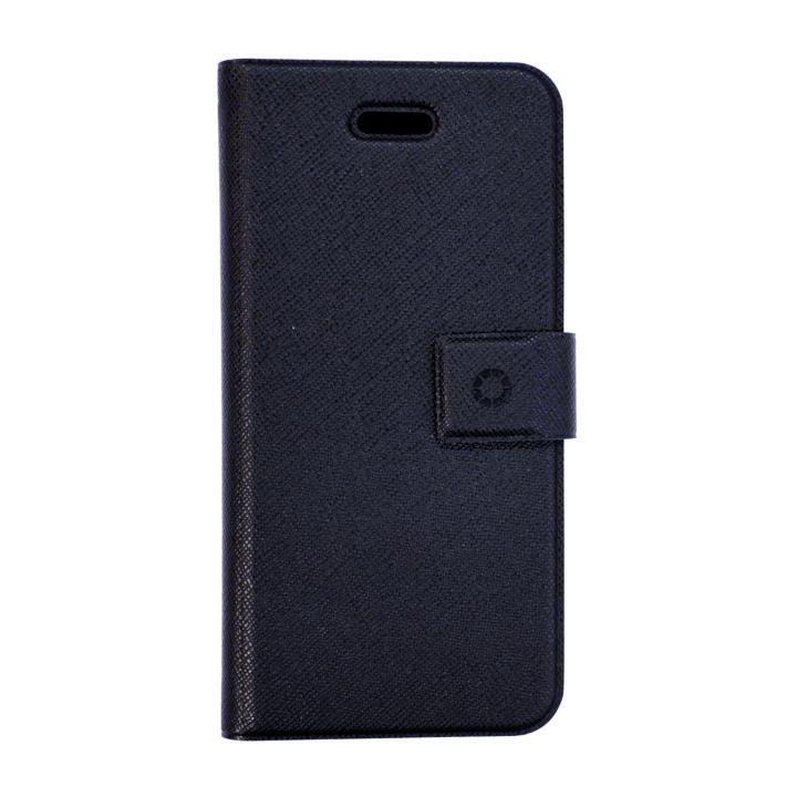 特殊粘着シートで汚れない 手帳型ケース DIARIO ブラック iPhone SE/5s/5/5cケース