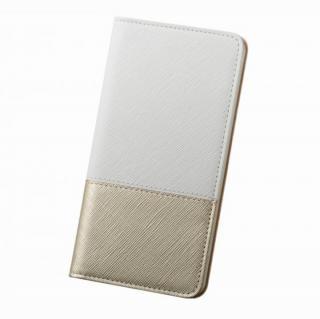 iPhone6 Plus ケース レディトキオ 手帳型本革ケース ホワイト/ゴールド iPhone 6 Plus