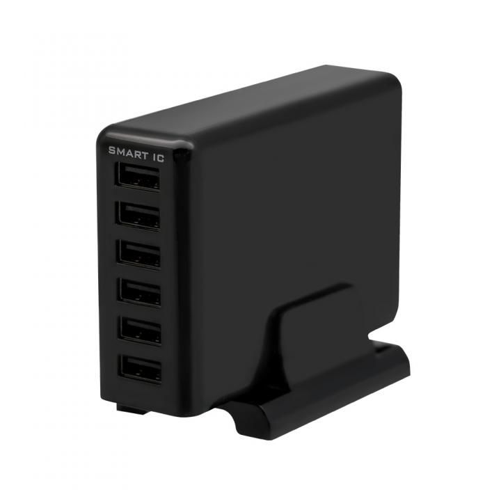 専用スタンド付属 かしこく急速充電 6台同時充電対応 USB Tpe-A×6ポート 60W 合計出力12A USB充電器 ブラック_0