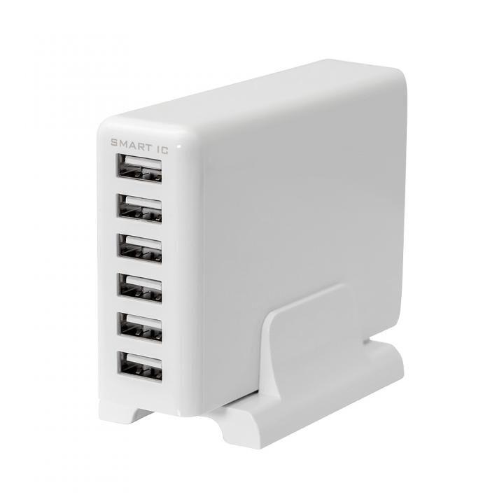専用スタンド付属 かしこく急速充電 6台同時充電対応 USB Tpe-A×6ポート 60W 合計出力12A USB充電器 ホワイト_0