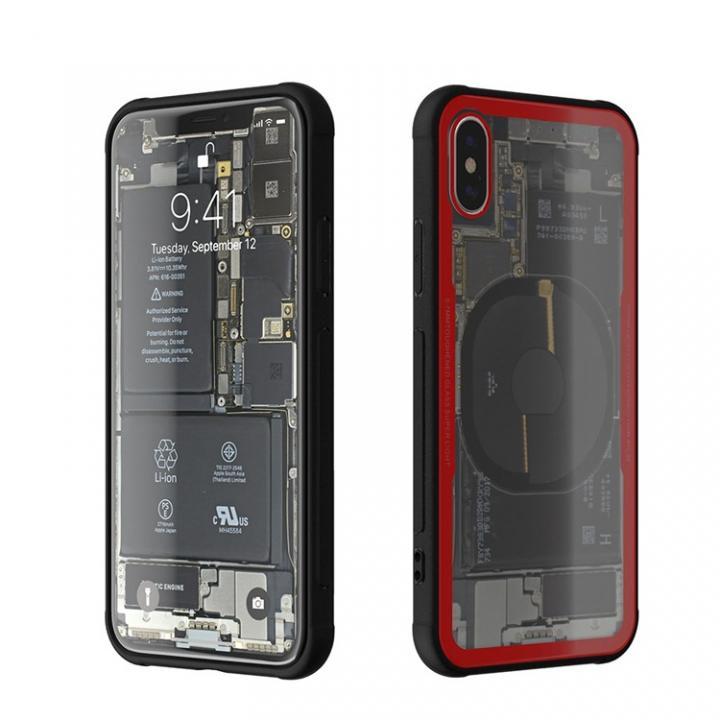 iPhone X ケース 背面強化ガラスケース Eureka Translucent レッド iPhone X_0